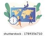 tiny people study atlas earth.... | Shutterstock .eps vector #1789356710