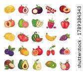 bundle of fresh fruits set... | Shutterstock .eps vector #1789384343