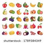 bundle of fresh fruits set... | Shutterstock .eps vector #1789384349