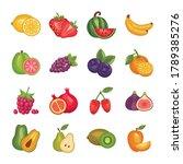 bundle of fresh fruits set...   Shutterstock .eps vector #1789385276