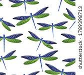 Dragonfly Cartoon Seamless...