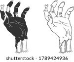 hand drawn zombie hand...   Shutterstock .eps vector #1789424936