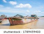 Freight ships on the Jiaomen waterway at the Pearl River estuary in Guangzhou, Guangdong
