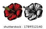 vector set of two hibiscus...   Shutterstock .eps vector #1789512140