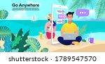 summer girl on the beach.... | Shutterstock .eps vector #1789547570