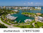 Bal Harbour marina with luxury yachts Miami Beach FL aerials