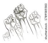 hands raised air fighting for...   Shutterstock .eps vector #1789585583