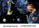 watercolor  space and planets.... | Shutterstock .eps vector #1789590749