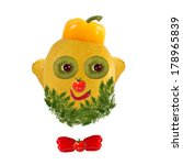 healthy eating. funny face made ... | Shutterstock . vector #178965839