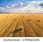 Aerial View Of Hay Bales At...