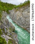 View of The Silfar Canyon, Borselv, Norway - stock photo