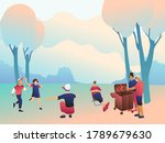 big happy family in the park ... | Shutterstock .eps vector #1789679630