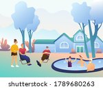 big happy family on the lawn... | Shutterstock .eps vector #1789680263