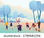 big happy family in the park ... | Shutterstock .eps vector #1789681196