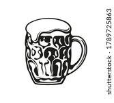 dimpled glass beer mug. hand... | Shutterstock .eps vector #1789725863