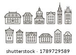 vintage buildings icons set in... | Shutterstock .eps vector #1789729589