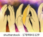a lot of hands on smoked pastel ... | Shutterstock . vector #1789841129