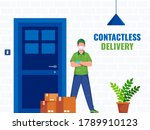 courier boy wearing protective... | Shutterstock .eps vector #1789910123