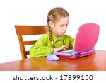 sitting young girl with notebook | Shutterstock . vector #17899150