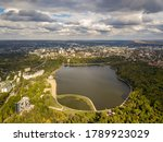 Aerial View Of A Lake In A Par...