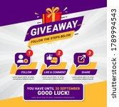 giveaway steps for social media ... | Shutterstock .eps vector #1789994543