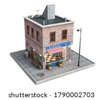 barbershop in a building on a... | Shutterstock . vector #1790002703