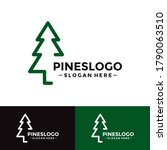 pine tree logo design template. ... | Shutterstock .eps vector #1790063510