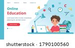 online learning template with... | Shutterstock .eps vector #1790100560
