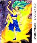 Flamenco Dancer With Green Hai...