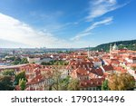 Aerial View Of Prague Old Town...