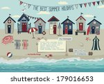 beach huts   summer poster and... | Shutterstock .eps vector #179016653