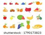 fruit and berries in cartoon... | Shutterstock .eps vector #1790173823