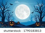 halloween background with full... | Shutterstock .eps vector #1790183813