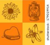 flowers and kerosene lamp ... | Shutterstock .eps vector #179019914