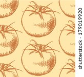 tomato sketch  vector seamless... | Shutterstock .eps vector #179019920