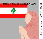 People pray for Lebanon for safety of people after giant bomb.vector illustration