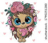 cute cartoon hedgehog with... | Shutterstock .eps vector #1790251280