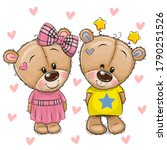 two cute cartoon teddy bears on ... | Shutterstock .eps vector #1790251526