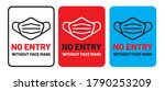 no entry without face mask... | Shutterstock .eps vector #1790253209