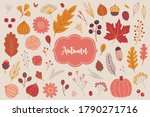 autumn set   flowers  rose ... | Shutterstock .eps vector #1790271716