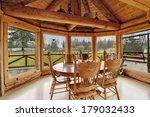 Bright Dining Room In Log Cabin ...