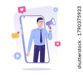 digital marketing concept. man... | Shutterstock .eps vector #1790375933
