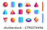 set of 3d geometric shapes and... | Shutterstock .eps vector #1790376446