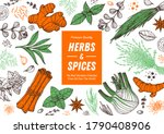 herbs and spices hand drawn... | Shutterstock .eps vector #1790408906