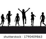 group of children running on... | Shutterstock .eps vector #1790409863