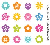 set of flat icon flower icons...