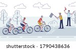 group of cyclist finish road... | Shutterstock .eps vector #1790438636