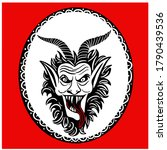 krampus. scary krampus. horned... | Shutterstock .eps vector #1790439536