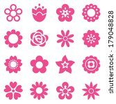 set of flat flower icons in... | Shutterstock . vector #179048828