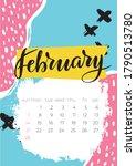 february 2021 calendar.... | Shutterstock .eps vector #1790513780